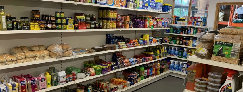 Shop shelves with items on them
